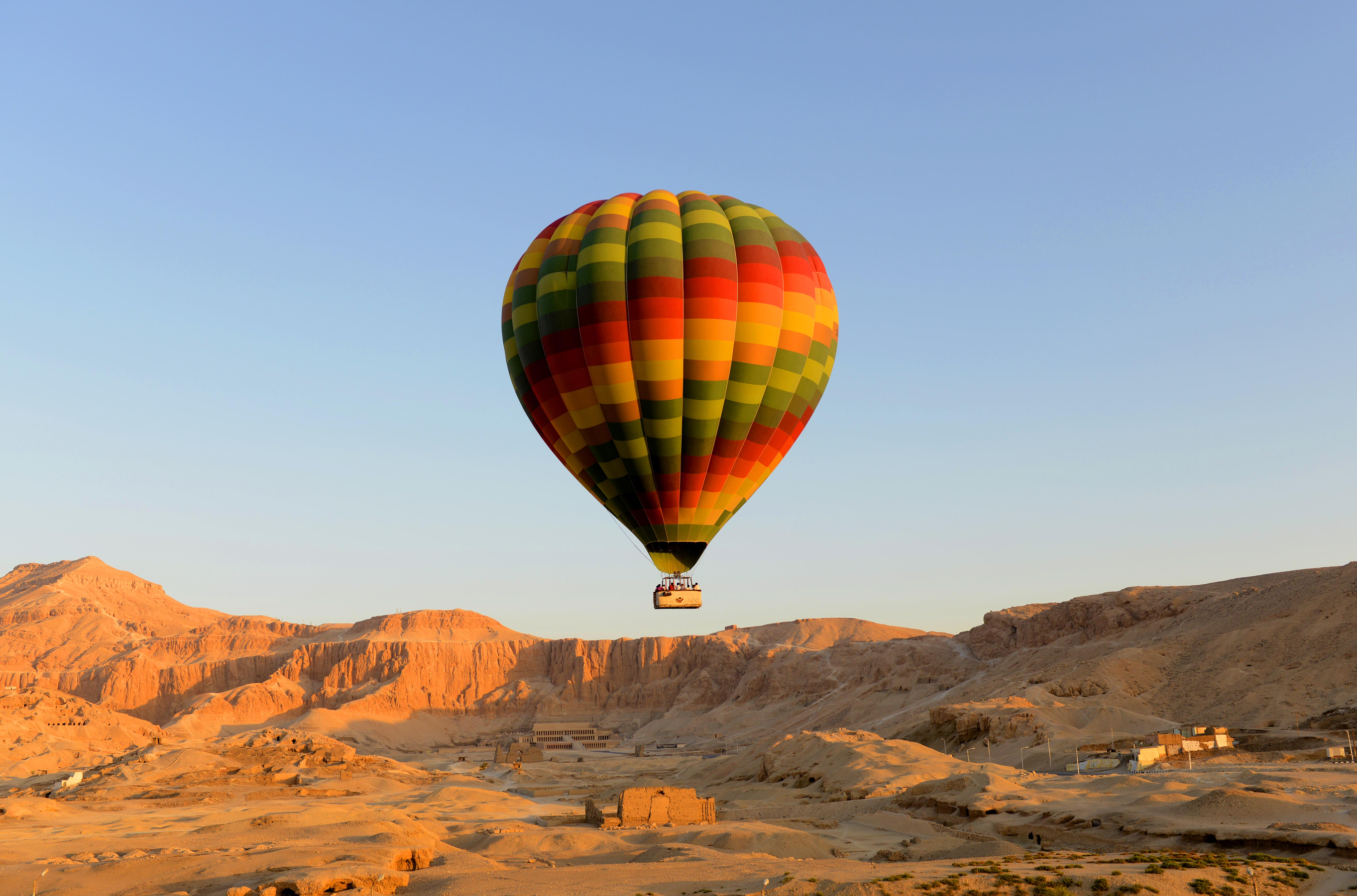 Hot air balloon lifting off in Egypt.