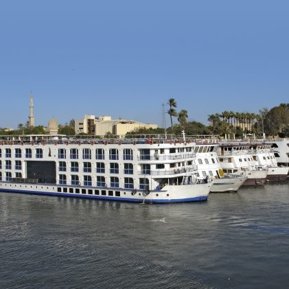 some passenger ships on river Nile near Esna, a city in Egypt (Africa)