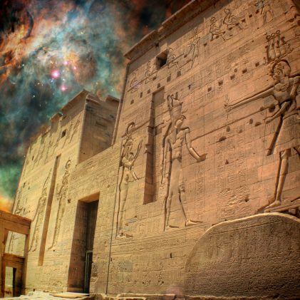 Photo-montage of Isis Temple at Philae island and a star-birthing region in the Orion Nebula (Elements of this image furnished by NASA)