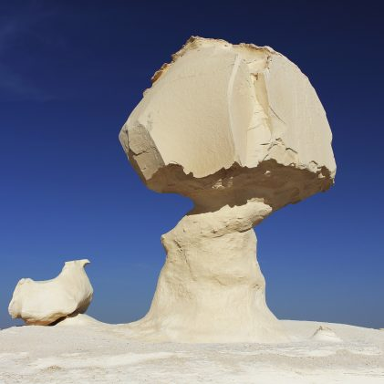 "Limestone formation rocks known as ""The mushroom and the chicken"" in the White Desert Natural Park, close to Farafra oasis, Egypt."